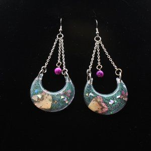 COPY - Pressed Flower Crescent Moon wire hook ear…